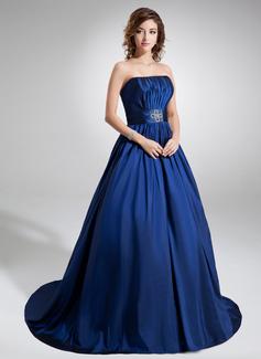 Duchesse-Linie Trägerlos Hof-schleppe Taft Quinceañera Kleid (Kleid für die Geburtstagsfeier) mit Rüschen Perlen verziert (021020757)