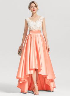 A-Linie/Princess-Linie U-Ausschnitt Asymmetrisch Satin Abendkleid mit Perlstickerei (017153618)