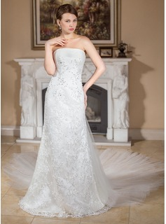 A-Line/Princess Strapless Watteau Train Detachable Satin Tulle Lace Wedding Dress With Ruffle Beading (002011962)