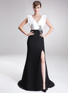A-Linie/Princess-Linie V-Ausschnitt Sweep/Pinsel zug Chiffon Taft Kleid für die Brautmutter mit Perlstickerei Pailletten Schlitz Vorn (008006187)
