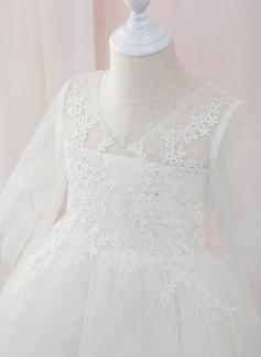 Corte De Baile/Princesa Hasta el tobillo Vestidos de Niña Florista - Tul/Encaje Manga larga Escote en V con Cuentas (010207217)