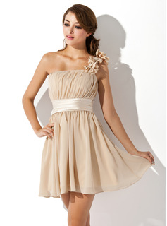 Formal Dresses A-Line/Princess One-Shoulder Short/Mini Chiffon Charmeuse Homecoming Dress With Sash Flower(s) (022007272)