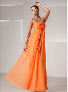 Empire Sweetheart Floor-Length Chiffon Holiday Dress With Ruffle (020025839)
