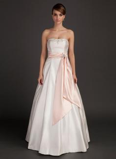 A-Line/Princess Strapless Floor-Length Charmeuse Wedding Dress With Sash Beading (002015492)