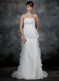 Empire Strapless Court Train Organza Satin Wedding Dress With Flower(s) Cascading Ruffles (002017179)