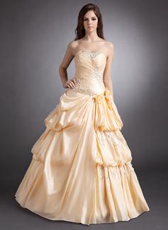 A-Linie/Princess-Linie Herzausschnitt Bodenlang Taft Quinceañera Kleid (Kleid für die Geburtstagsfeier) mit Rüschen Perlen verziert Applikationen Spitze Blumen (021016248)
