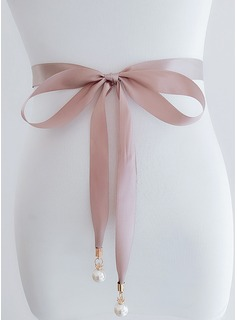 Elegant Satin Belt With Imitation Pearls (015197467)