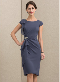 Sheath/Column Scoop Neck Knee-Length Chiffon Cocktail Dress With Beading Cascading Ruffles (016192772)