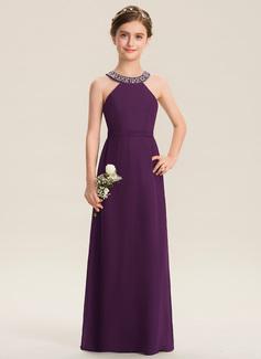 Corte A Decote redondo Longos Tecido de seda Vestido de daminha júnior com Beading Curvado (009173280)
