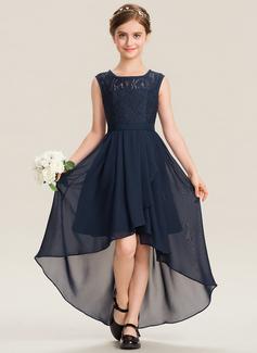 A-Linie U-Ausschnitt Asymmetrisch Chiffon Spitze Kleid für junge Brautjungfern mit Schleife(n) Gestufte Rüschen (009173273)