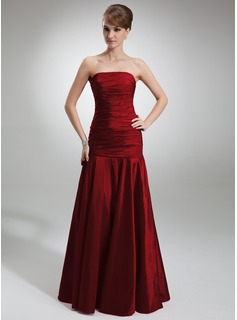Burgundy Bridesmaid Dresses Mermaid Strapless Floor-Length Taffeta Bridesmaid Dress With Ruffle (007001839)
