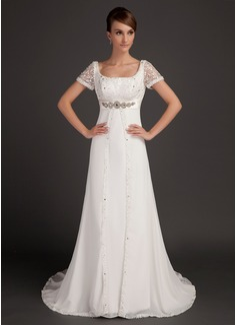 Forme Princesse Col rond Traîne moyenne Mousseline Robe de mariée avec Dentelle Emperler (002015553)