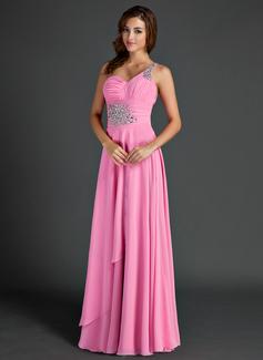 A-Linie/Princess-Linie One-Shoulder-Träger Bodenlang Chiffon Festliche Kleid mit Rüschen Perlen verziert (020015525)