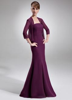 Trompete/Meerjungfrau-Linie Trägerlos Bodenlang Chiffon Kleid für die Brautmutter (008006528)
