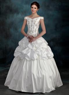 Forme Marquise Epaules nues Longueur au sol Taffeta Robe de mariée avec Emperler Fleur(s) (002012128)
