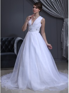 Ball-Gown V-neck Chapel Train Organza Satin Wedding Dress With Ruffle Beading (002001413)