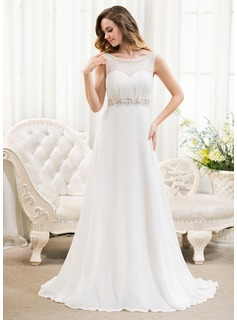 A-Line/Princess Scoop Neck Sweep Train Chiffon Tulle Wedding Dress With Ruffle Beading Sequins (002054624)