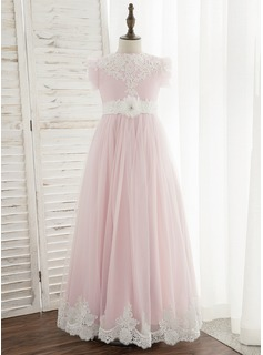 Ball-Gown/Princess Floor-length Flower Girl Dress - Chiffon/Tulle/Lace Sleeveless Scoop Neck With Flower(s) (010172376)