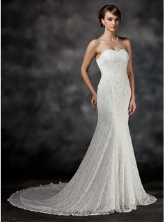 Trumpet/Mermaid Sweetheart Chapel Train Satin Lace Wedding Dress With Beading (002017421)