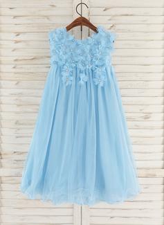 A-Line Knee-length Flower Girl Dress - Tulle Sleeveless Scoop Neck With Flower(s)/Rhinestone (010172342)