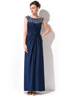 Etui-Linie U-Ausschnitt Knöchellang Jersey Kleid für die Brautmutter mit Rüschen Perlen verziert (008051146)