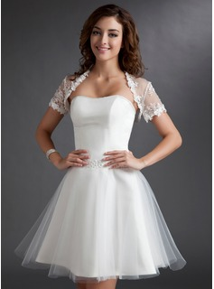 Robe de Marie Ligne-A/Princesse Cur Mi-longues Tulle Robe de Marie avec Ondul Perl (002011497)