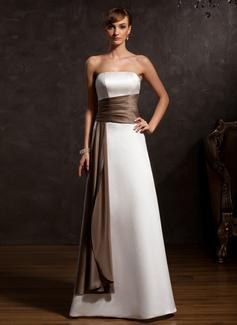 A-Linie/Princess-Linie Trägerlos Bodenlang Satin Kleid für die Brautmutter mit Schleifenbänder/Stoffgürtel (008015120)