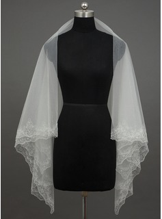 One-tier Fingertip Bridal Veils With Pencil Edge (006035678)