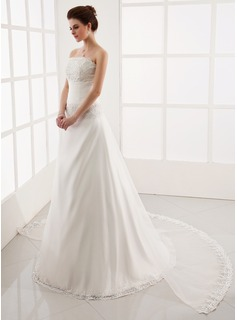 A-Line/Princess Strapless Watteau Train Detachable Organza Wedding Dress With Ruffle Lace Beading (002001305)