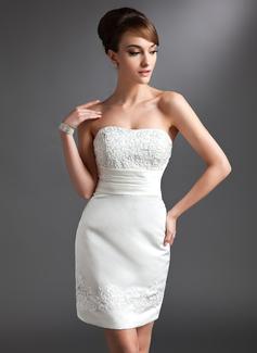 Etui-Linie Herzausschnitt Kurz/Mini Satin Kleid für die Brautmutter mit Spitze Perlen verziert (008016380)
