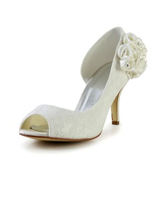 Women's Lace Stiletto Heel Peep Toe Pumps Sandals With Rhinestone Satin Flower (047029478)