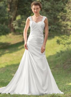 Forme Princesse Bustier en coeur Traîne courte Charmeuse Robe de mariée avec Plissé (002000429)