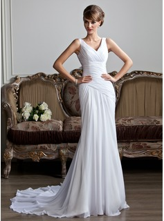 A-Line/Princess V-neck Chapel Train Chiffon Wedding Dress With Ruffle (002011736)