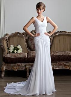 Corte A/Princesa Escote en V Cola capilla Chifón Vestido de novia con Volantes (002011736)