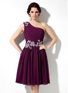 A-Line/Princess One-Shoulder Knee-Length Chiffon Homecoming Dress With Ruffle Lace Beading Sequins (022009063)