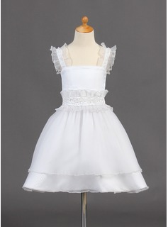 A-Line/Princess Knee-length Flower Girl Dress - Organza Sleeveless Straps With Beading/Sequins (010015781)