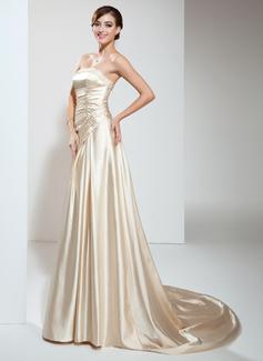 A-Linie/Princess-Linie Trägerlos Hof-schleppe Charmeuse Brautkleid mit Rüschen Perlen verziert (002011708)
