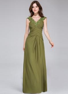 A-Linie/Princess-Linie V-Ausschnitt Bodenlang Chiffon Abendkleid mit Rüschen Perlen verziert Applikationen Spitze (008026213)