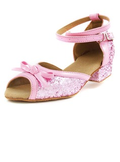 Frauen Kinder Kunstleder Funkelnde Glitzer Heels Sandalen Flache Schuhe Latin Ballsaal mit Des Bowknot Knöchelriemen Tanzschuhe (053013003)