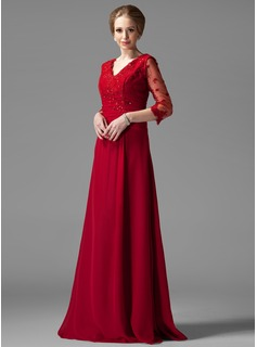 A-Line/Princess V-neck Floor-Length Chiffon Mother of the Bride Dress With Ruffle Lace Beading (008004443)