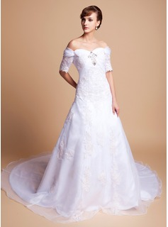 A-Line/Princess Off-the-Shoulder Cathedral Train Organza Satin Wedding Dress With Lace Beading (002011512)