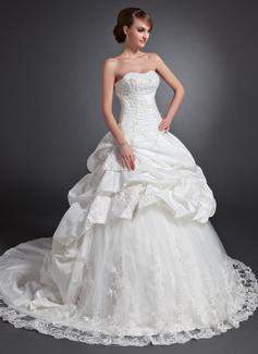 Forme Marquise Bustier en coeur Traîne chappelle Taffeta Tulle Robe de mariée avec Plissé Dentelle Emperler (002015155)