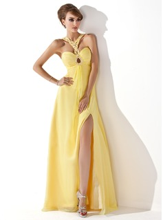 Robe de Bal de Promo Ligne-A/Princesse Cur Longeur au sol Mousseline Robe de Bal de Promo avec Ondul Brod (018005352)