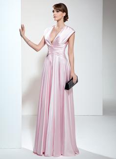 A-Linie/Princess-Linie V-Ausschnitt Bodenlang Charmeuse Kleid für die Brautmutter mit Rüschen (008006190)
