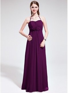 Empire Halter Floor-Length Chiffon Bridesmaid Dress With Ruffle Flower(s) (007025368)
