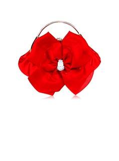Elegante Satén con Flor/Rhinestone Bolso de Mano/Funda de Monedas Para Bodas (012012260)
