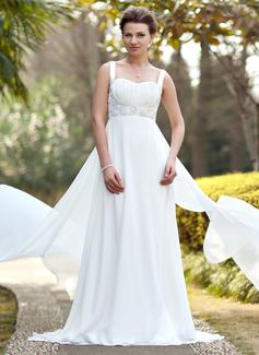Empire Sweetheart Watteau Train Chiffon Satin Wedding Dress With Ruffle Beading Sequins (002011686)