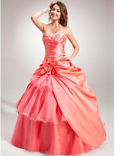 Ball-Gown Sweetheart Floor-Length Taffeta Organza Quinceanera Dress With Embroidered Beading Flower(s) Cascading Ruffles (021004684)