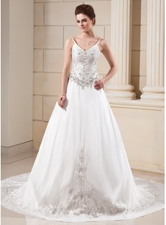 A-Line/Princess V-neck Chapel Train Taffeta Wedding Dress With Embroidery Beadwork (002000045)