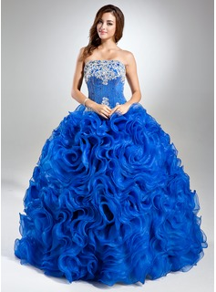 Ball-Gown Strapless Floor-Length Organza Prom Dress With Lace Beading Sequins Cascading Ruffles (018112904)